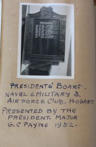 Presidents board, Naval, Military and Airforce Club, Hobart.