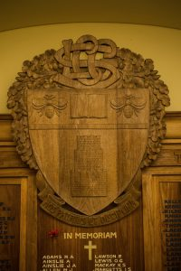 Close up shield on honour roll, Launceston Church Grammar School.