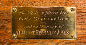 Close up brass plaque.