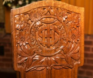 Detail on side of Litany desk, St John's Church, Launceston.