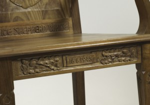 Detail of date, Victory League chair.