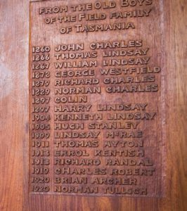 Detail of names on Field family sports cupboard, Launceston Church Grammar School.
