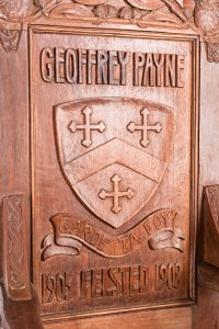 Chair close up shield, Felsted School, Essex, England