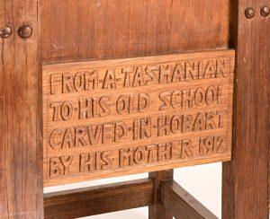Chair inscription, Felsted School, Essex, England