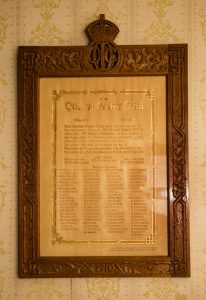 Framed list of members, Queen Mary Club, Hobart.