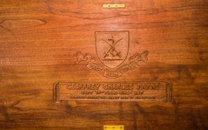 Inside of lid, chest for Geoffrey Payne.