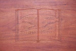 Close up inscription inside lid, Elizabeth Payne dower chest.