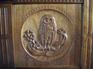 Close up Owl on Mollie Field's dower chest.